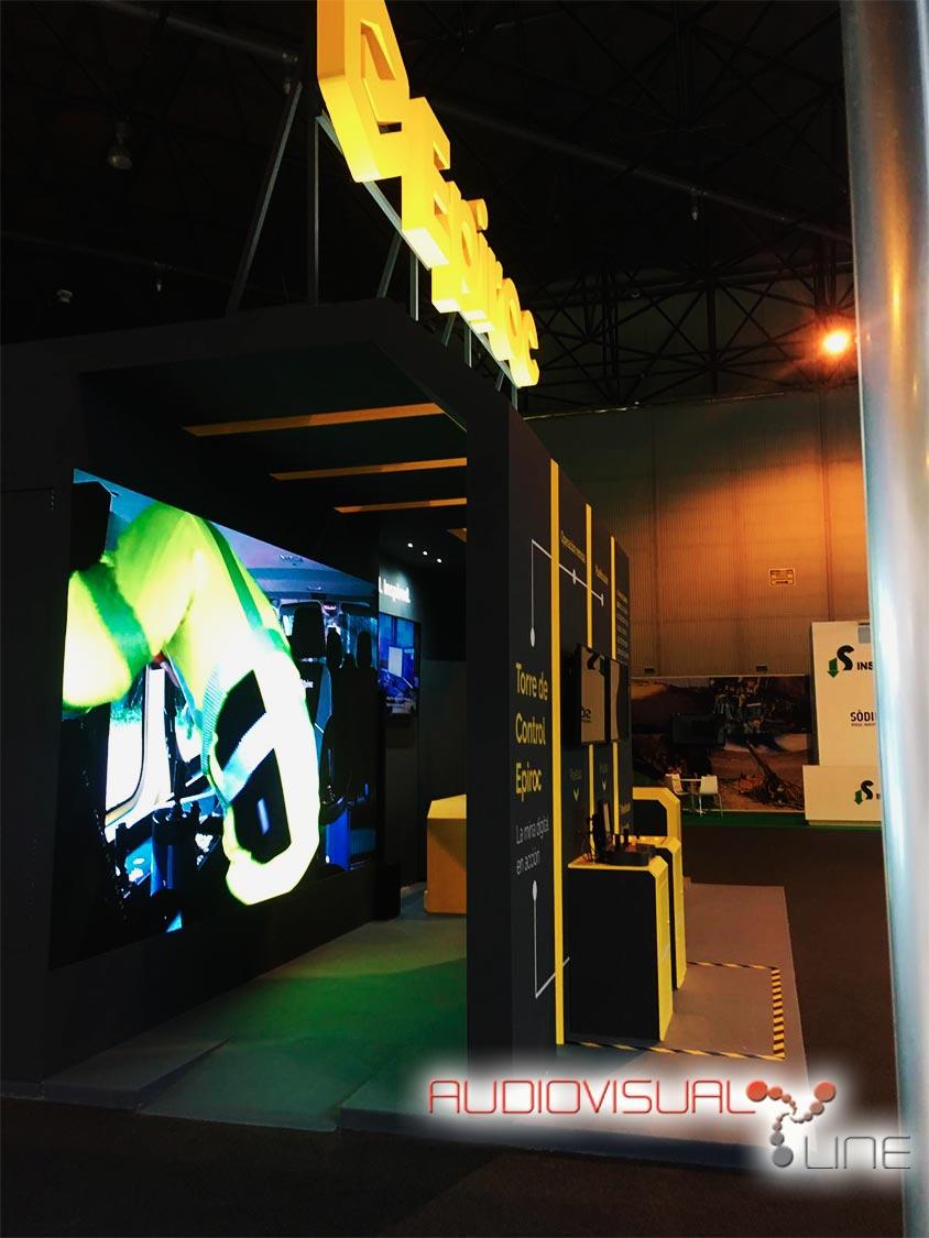 Equipamiento audiovisual del stand de Epiroc